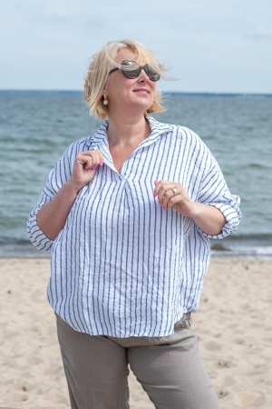 BELLE STRIPED LINEN BLOUSE, WHITE