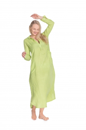 BEVERLEY LINEN DRESS, LIME